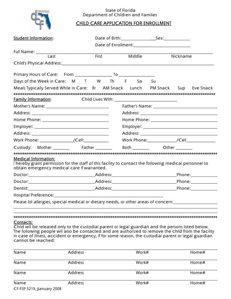 10 Daycare Application Forms Student information, Family