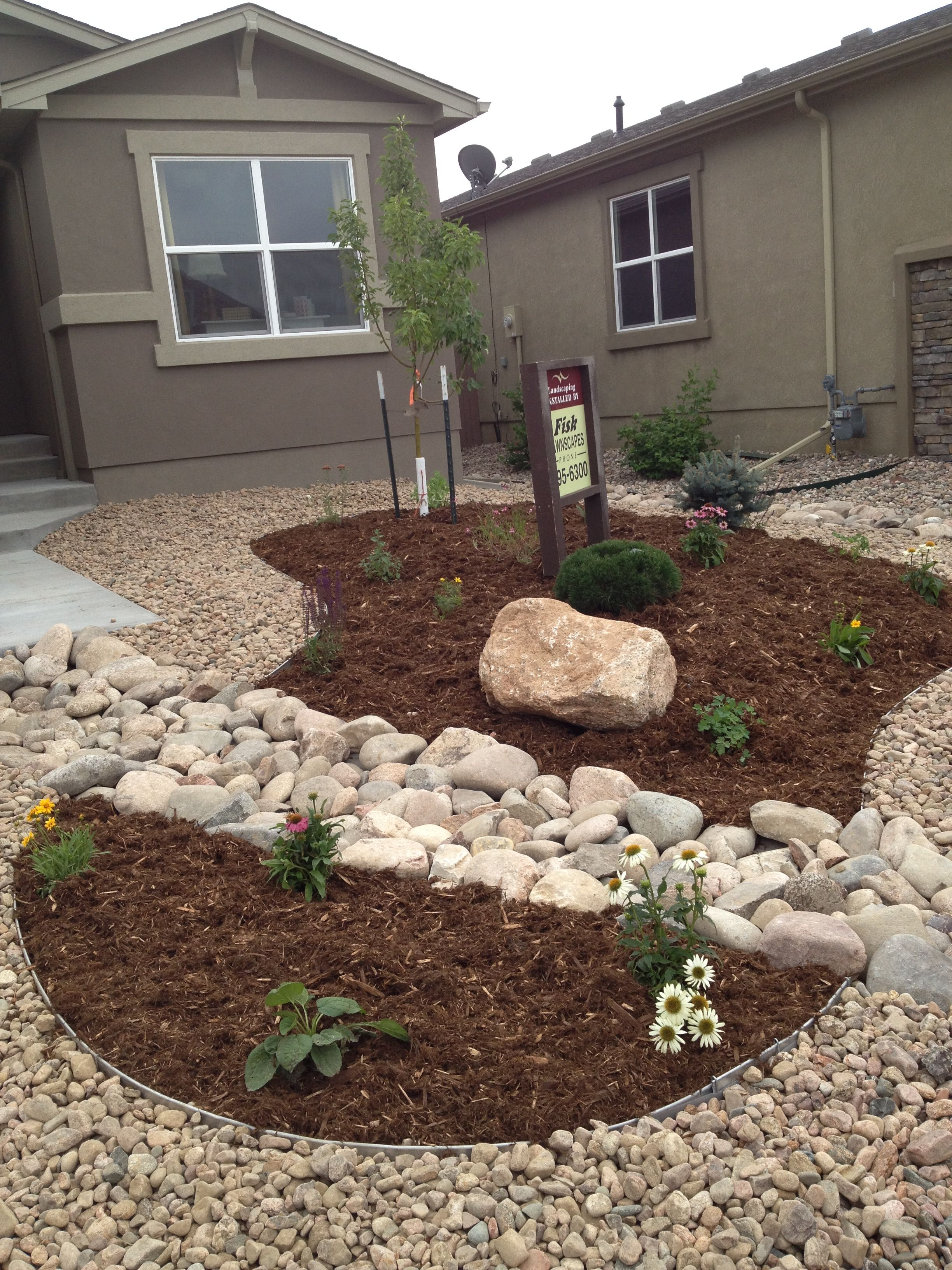 front yard xeriscape replace gravel with grass yard Small Front Yard Rock Garden Ideas id=96057