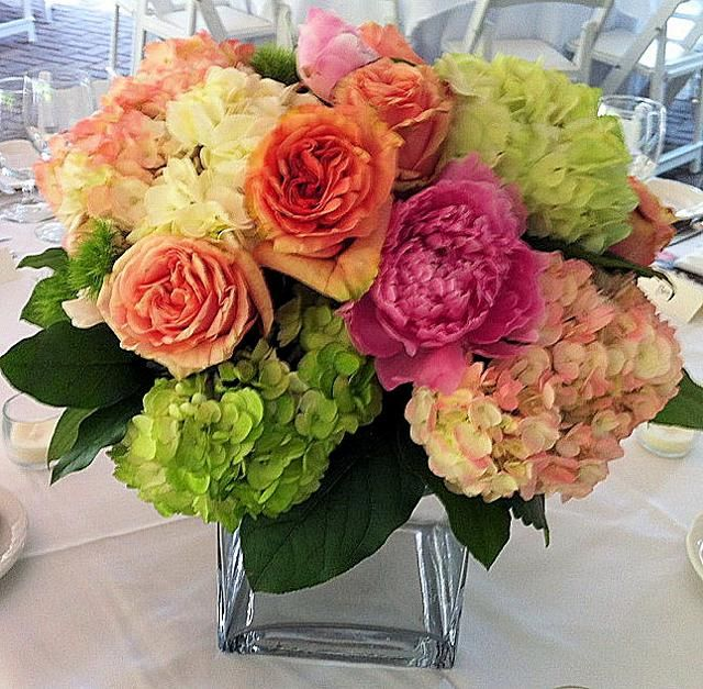 Cute Wedding Centerpiece Ideas: Centerpiece Featuring Hydrangeas, Peonies And Roses
