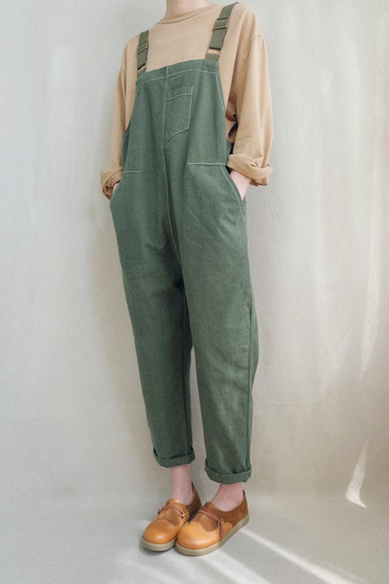 Photo of Women Leisure Adjustable Cotton Dungarees Linen Overalls, Cropped Leg Romper Washed Jumpsuit