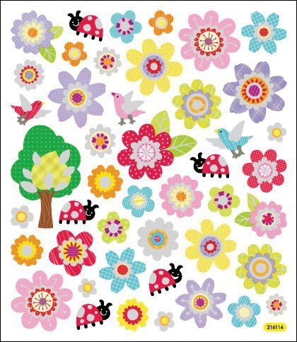 Multi-Colored Stickers-Spring Flowers
