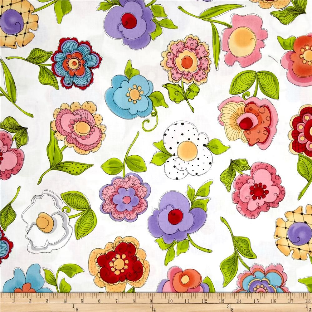 White Poppies Loralie Designs Fabric 100/% Cotton
