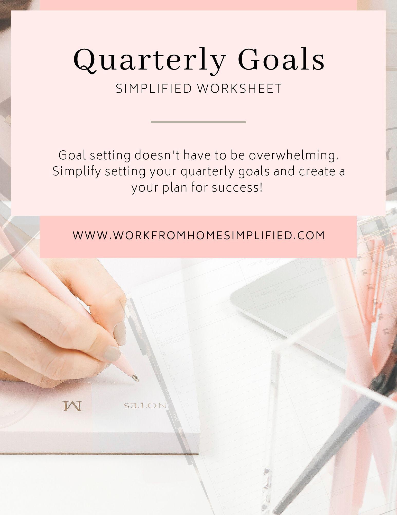 Quarterly Goal Planning Worksheet Simplified