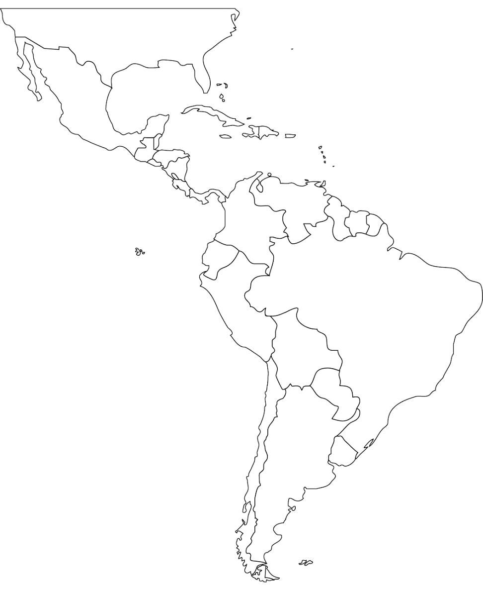 caribbean south america map black and white