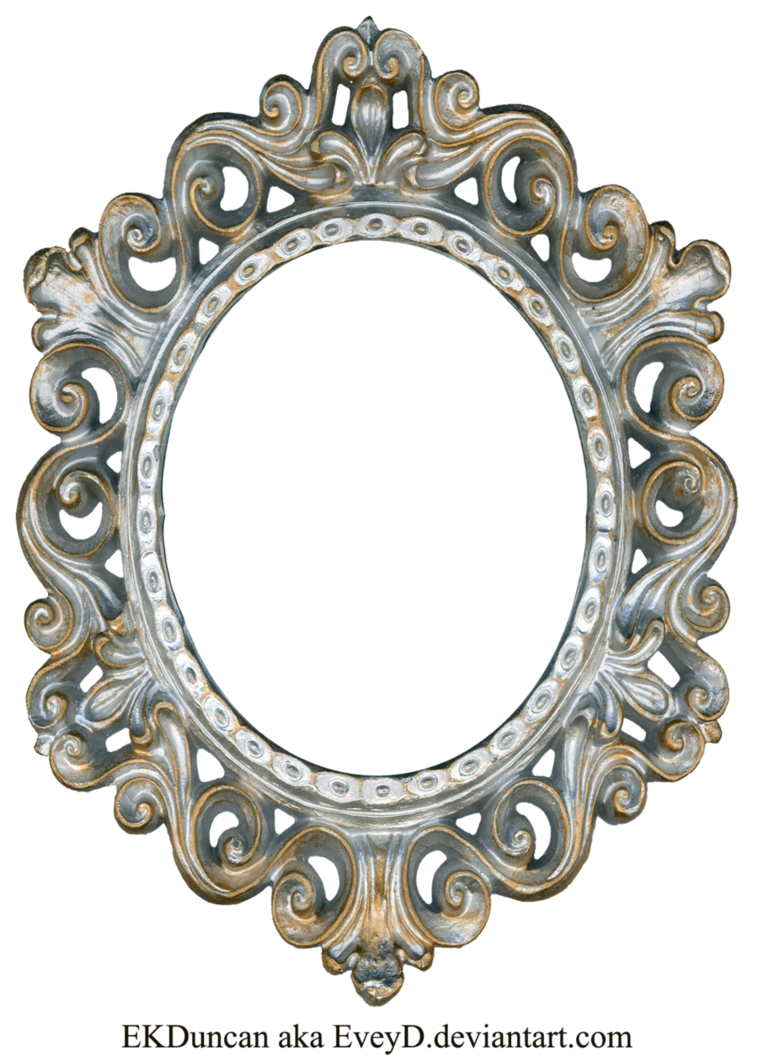 Vintage silver and gold frame oval by eveyd on for Fancy white mirror