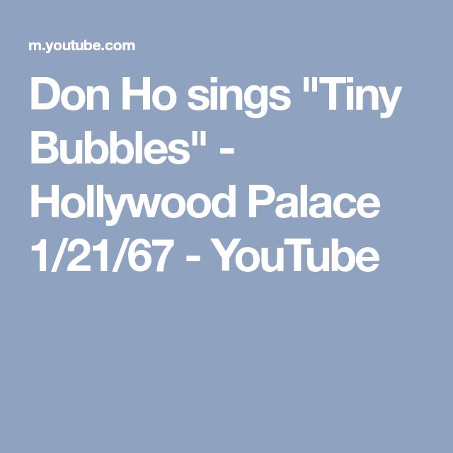 Don Ho Sings Tiny Bubbles Hollywood Palace 12167 Youtube