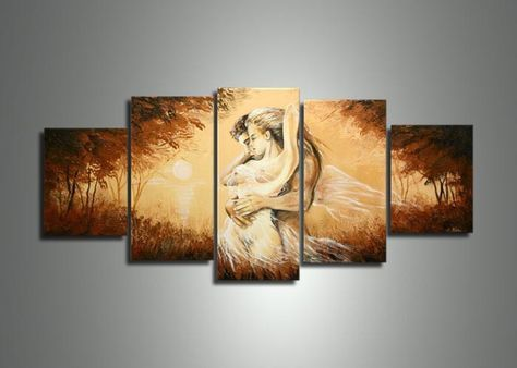 handmade 5 panel modern abstract oil painting on canvas wall art ...