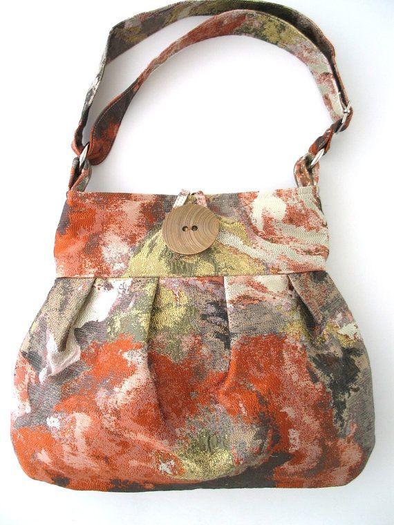 large pleated bag, crossbody messenger bag , burnt orange tote bag, fabric handbag, art bag, everyday purse, diaper bag , womens bag