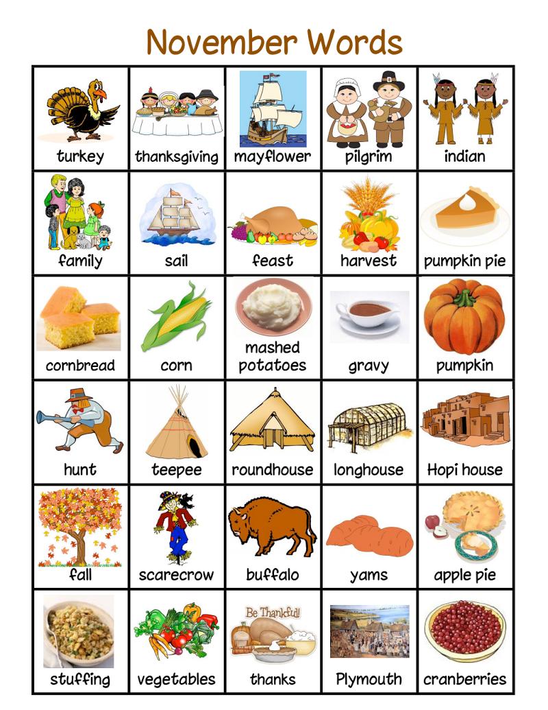NovemberDecember Words.pdf Thanksgiving history