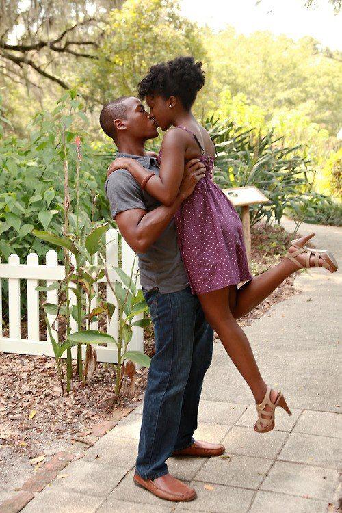 Adorable Young Black Couple Kissing And Having Fun She Is A Natural Beauty Blackmen Blackwomen Engagement Blackcouples Blacklove