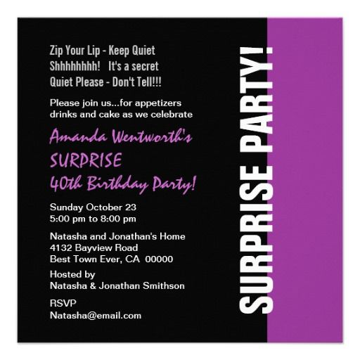 SURPRISE 40th Birthday Modern Black Purple W1466 Personalized Announcement
