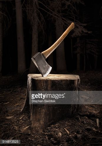 Stockfoto : Axe buried into stump in the dark