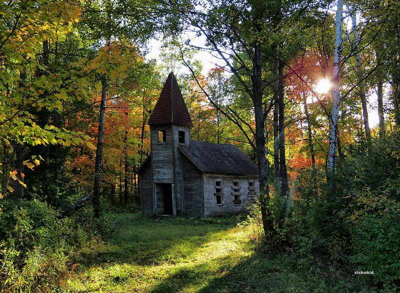 Church in the woods abandoned Estonian Evangelical