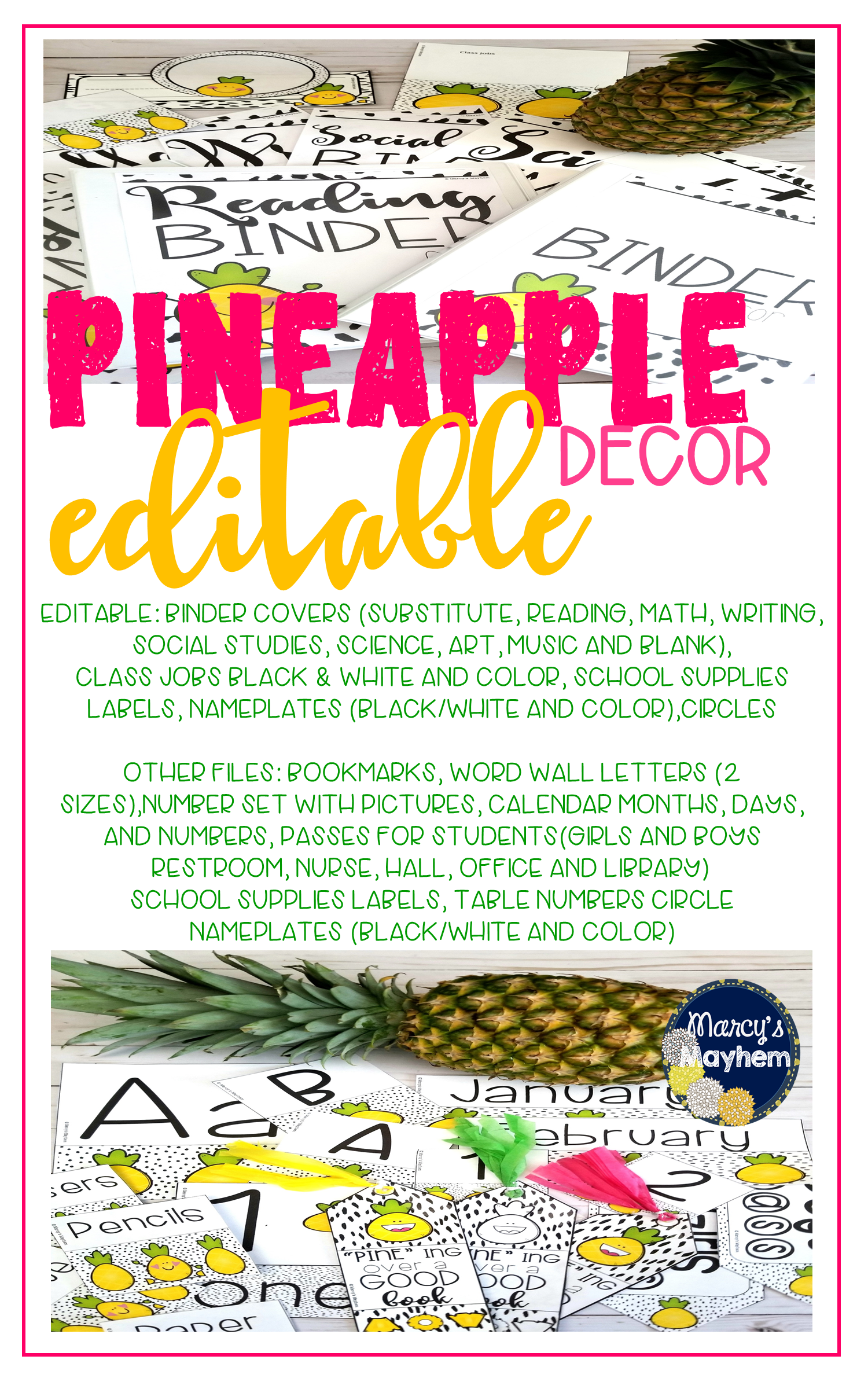 Pineapple Theme Classroom Decor Set Back To School