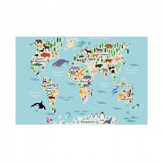 Fresh  HelloSunshine Mapamundi Animals Kinder Weltkarte LeinwandUV Farbdruck auf