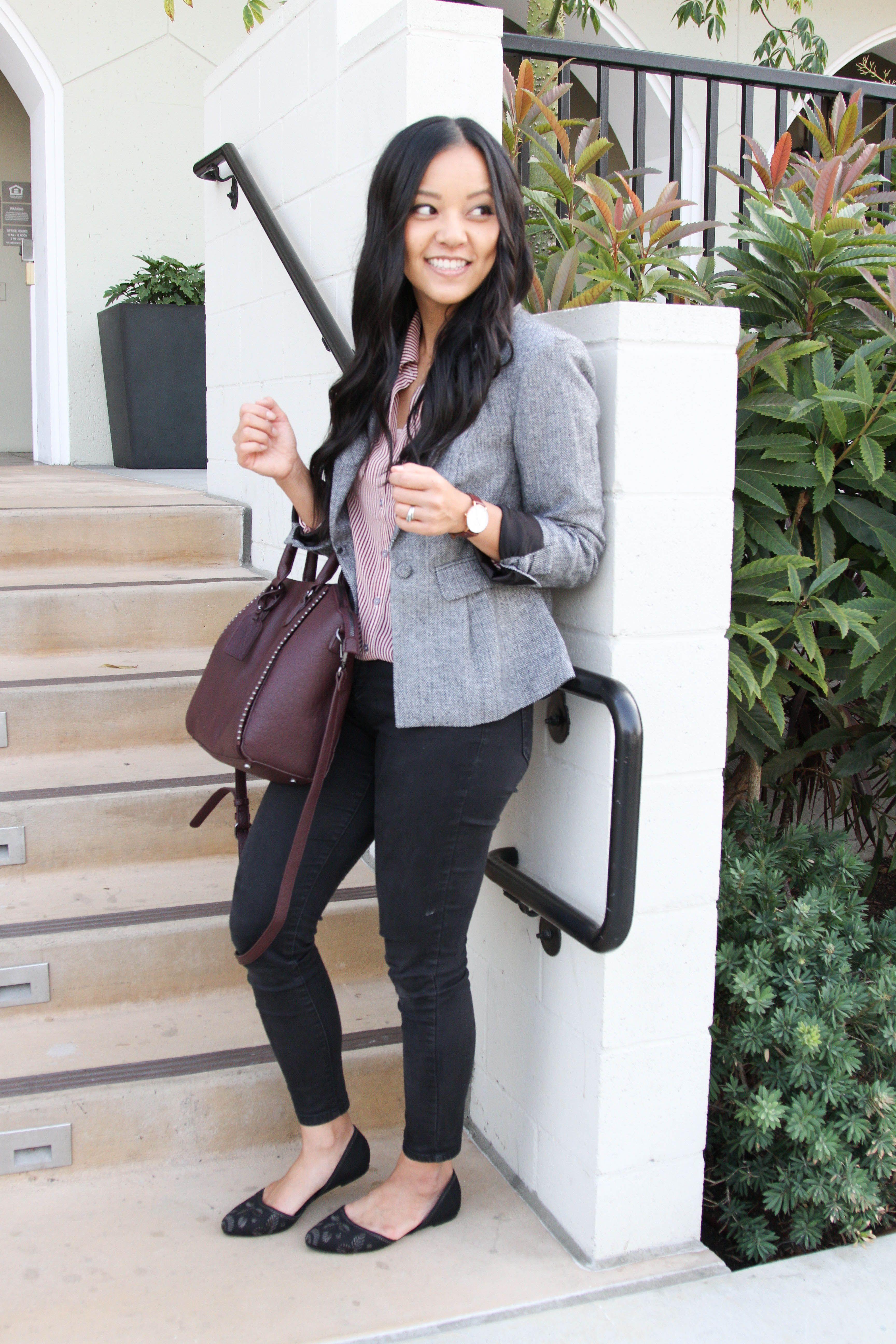 1bc0a46f16e5a Grey Blazer + Maroon Stripe Blouse + Black Skinnies + Wine Colored Tote + Black  Flats