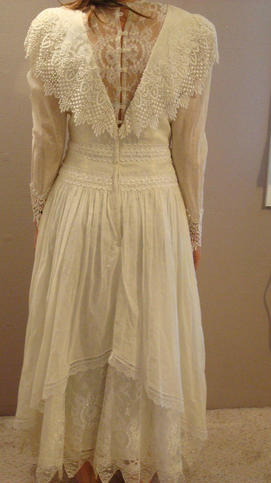 Jessica McClintock Lace Dress Wedding Formal Colonial Pioneer Vintage