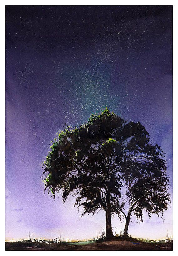Night Sky Print Landscape Painting Galaxy Art Galaxy Painting Night Landscape Tree Painting Tree Silhouette Universe Painting Watercolor Night Sky Night Sky Painting Sky Painting