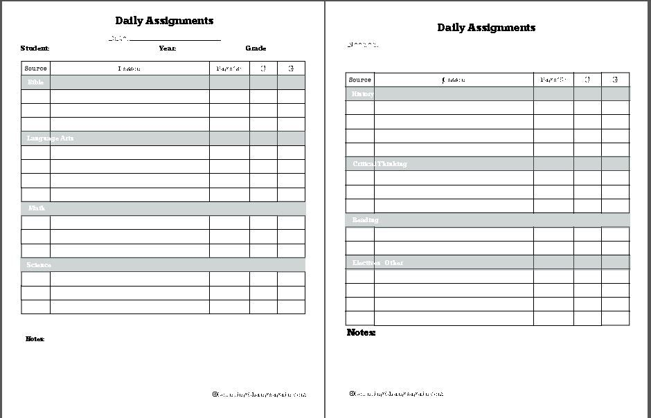 printable daily assignment sheet - Funfpandroid - printable assignment sheet