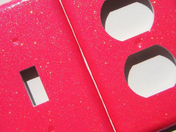 Glitter Light Switch Cover And Outlet Cover Hot Pink