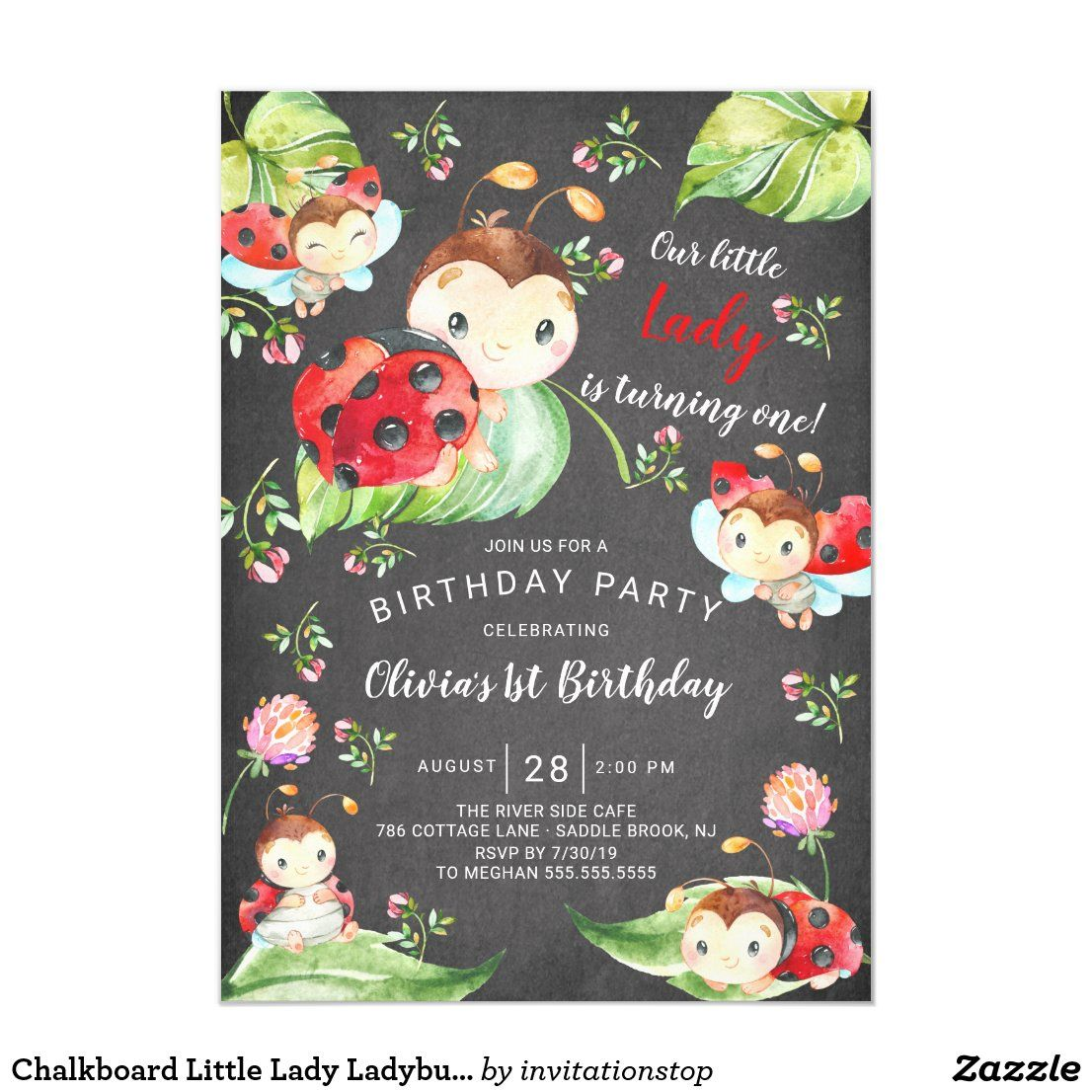 Double Sided Lady Bug Themed  First Birthday Invitation