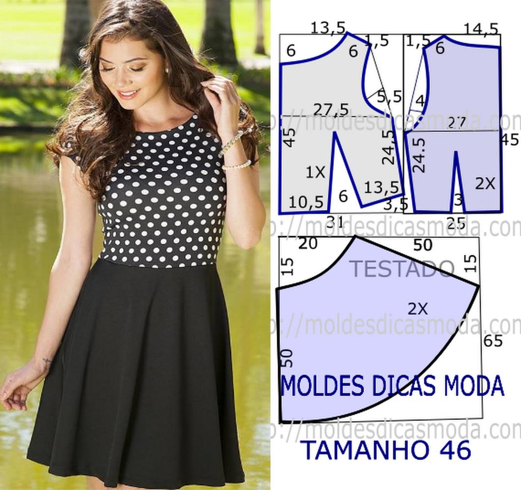 0192369a82ba16 VESTIDO ANOS CINQUENTA -86 - Moldes Moda por Medida ...