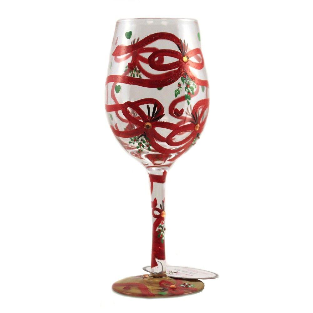 Tabletop 9 0 Meet Me Under The Mistletoe Hand Painted Enesco Drinkware In 2020 Diy Wine Glass Under The Mistletoe Mistletoe