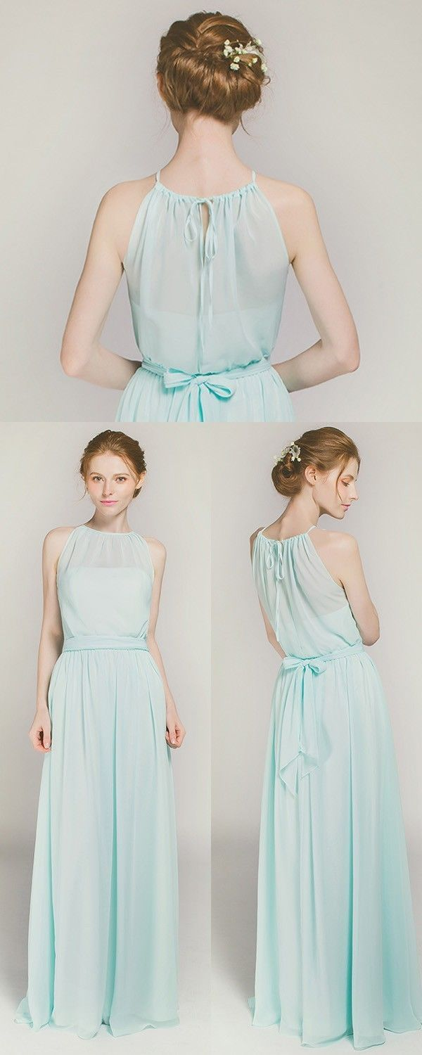 Sweet long chiffon halter bridesmaid dress tbqp blue sweets