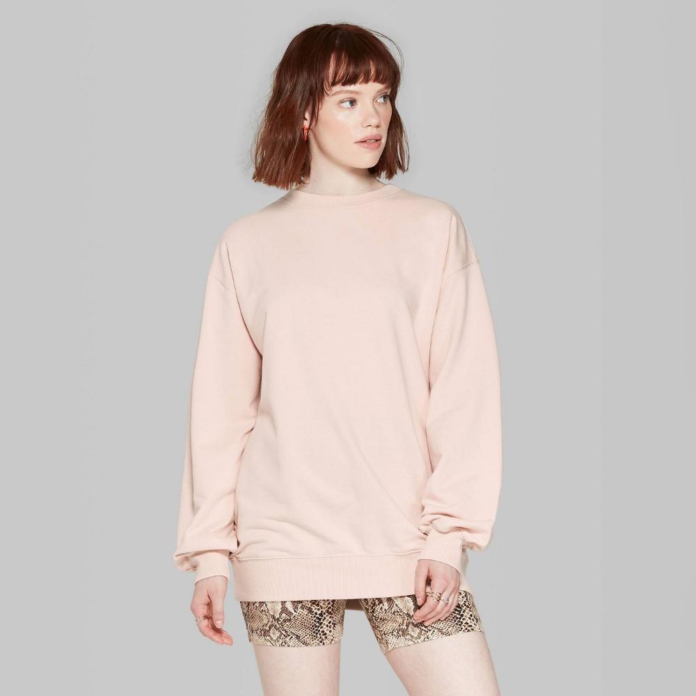 Women S Oversized Crewneck Sweatshirt Wild Fable Light Pink M L Target Oversized Crewneck Crew Neck Sweatshirt Long Sleeve Tshirt Men [ 1000 x 1000 Pixel ]