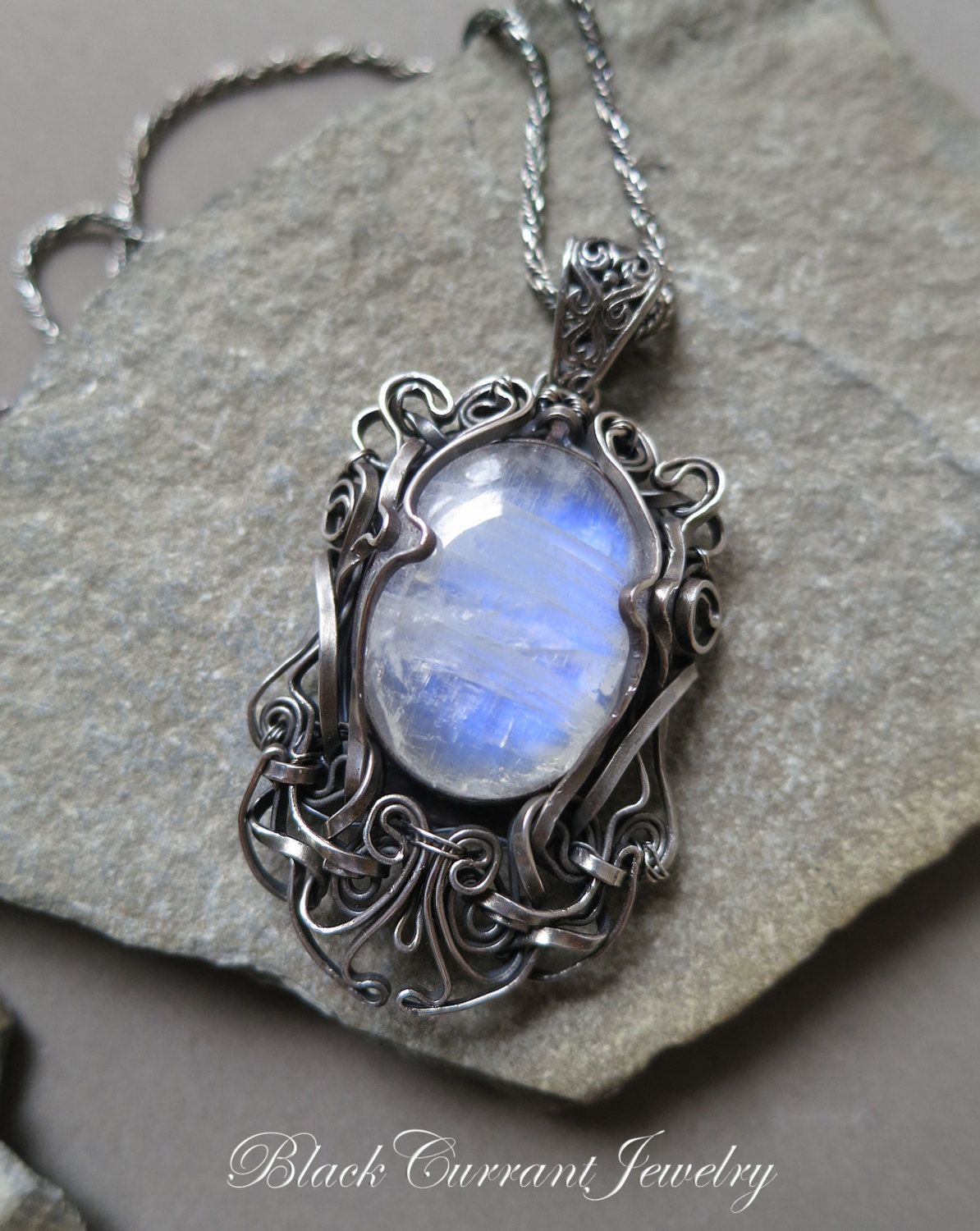 Rainbow Moonstone and Sterling Silver Pendant Wire Wrapped - dark ...