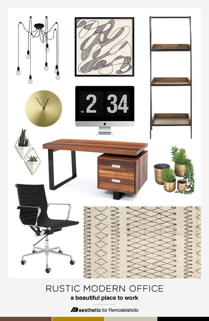 Rustic Modern Office Moodboard Office Design Inspiration Rustic Home Offices Modern Home Office