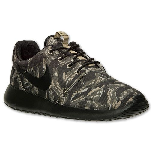 new styles d1510 def84 Men s Nike Roshe Run Print Casual Shoes   Finish Line   Light Bone Black Cargo  Khaki