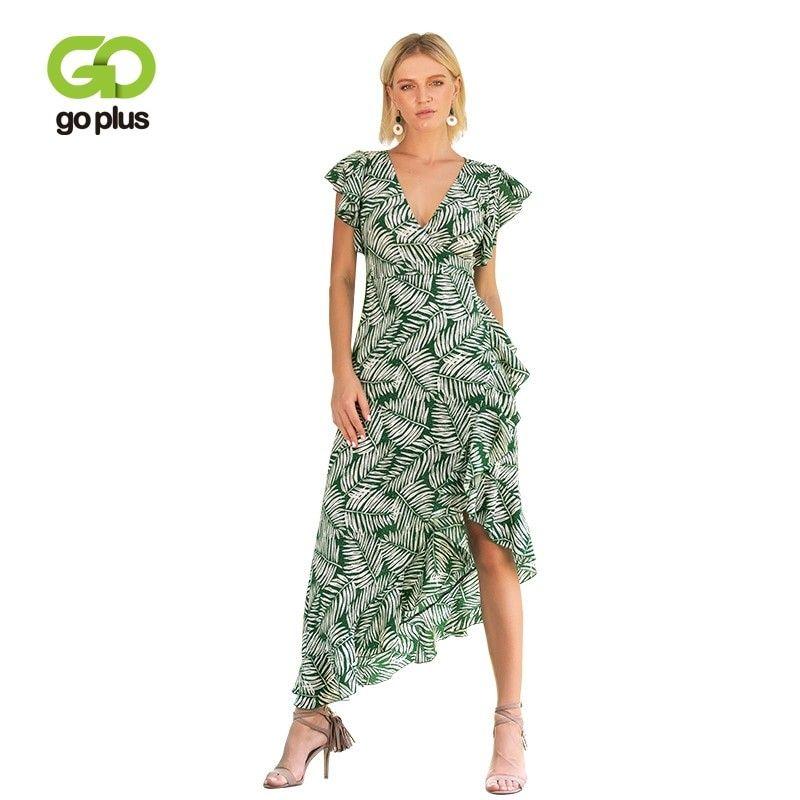 0ad7857ec GOPLUS Boho Dress 2019 Vintage Leaves Print Short Sleeve Dresses V-neck  Asymmetrical Summer Long Dress Women Chic Vestidos C6899