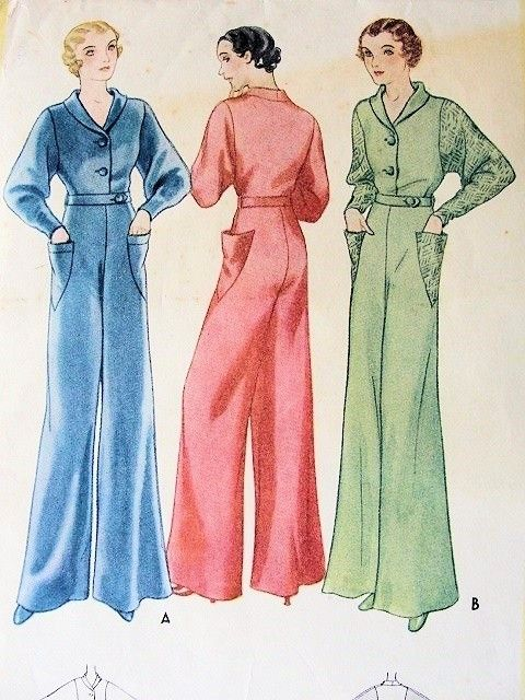 47e2c7a7b0 1930s McCALL Pattern 7247 ART DECO LOUNGING PAJAMAS EVENING JUMPSUIT DOLMAN  SLEEVES WIDE LEGGED JEAN HARLOW GLAM GATSBY STYLE