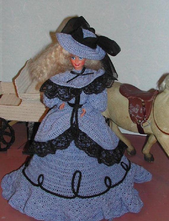 Crochet Fashion Doll Barbie Pattern- #247 OLD WEST in BLUE
