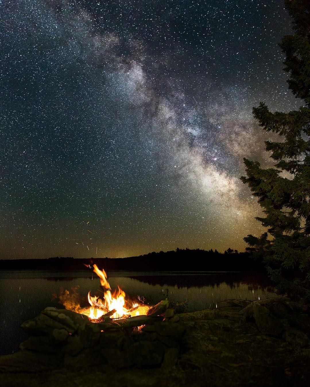Starry night at Lobster Lake #nightphotography #milkyway # ...