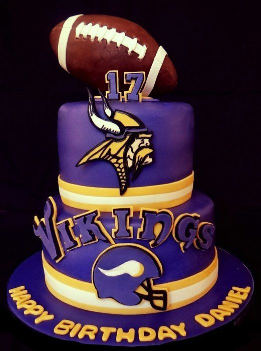 Minnesota Vikings Cake Football Is Made Of Rkt Covered With Modeling Chocolate Helmet Logo And Lettering Fondant Gum Paste Mix