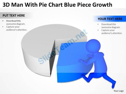 Pie Chart Templates 3D Man With Pie Chart Blue Piece Growth Ppt Graphics Icons .