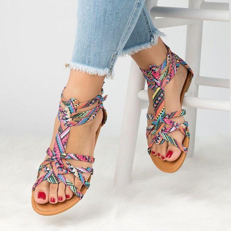 933732af8703 Open Toe Color Block Flat Sandals in 2019