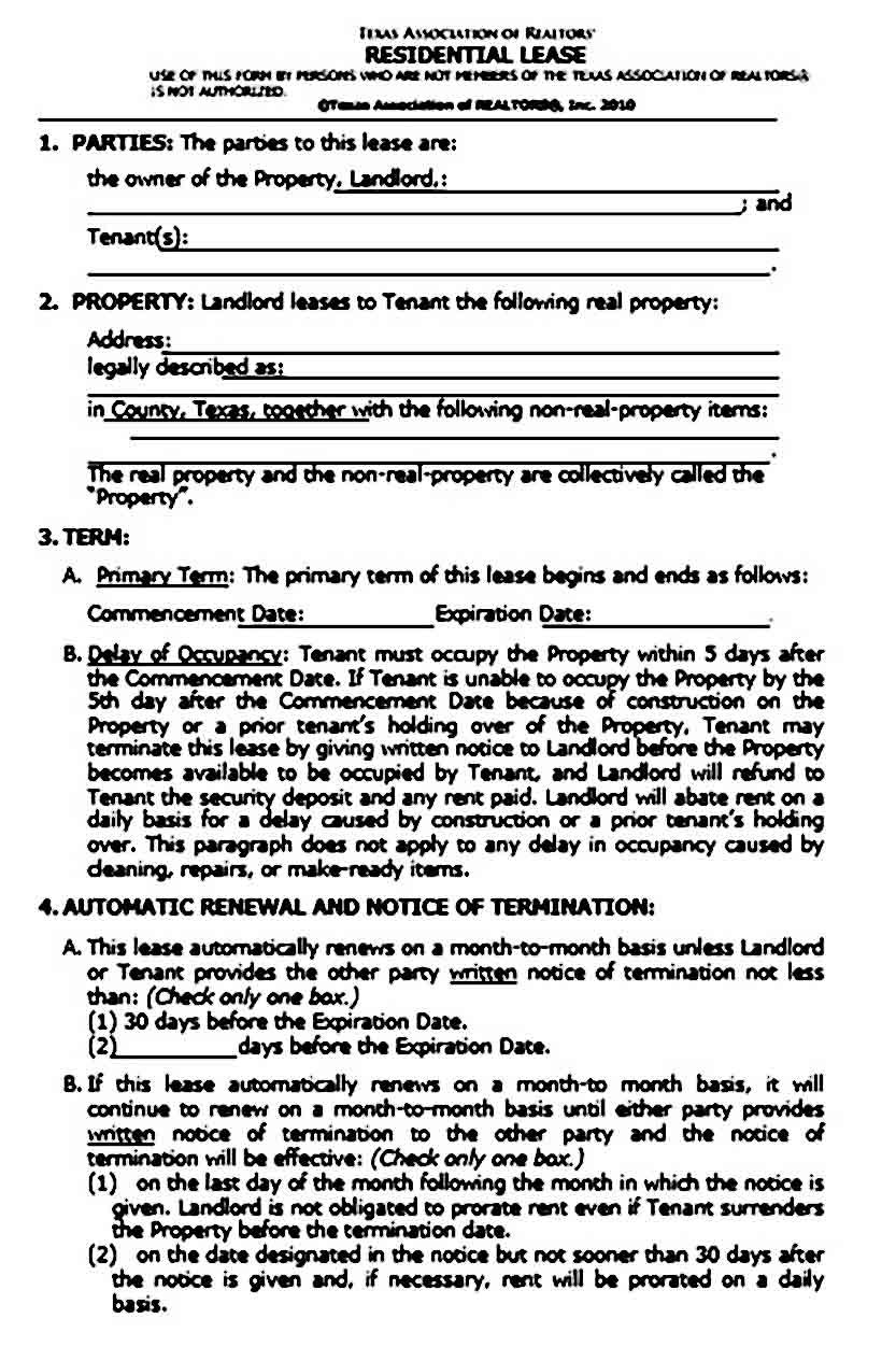 Texas Residential Lease Agreement Lease Agreement Lease Being A Landlord