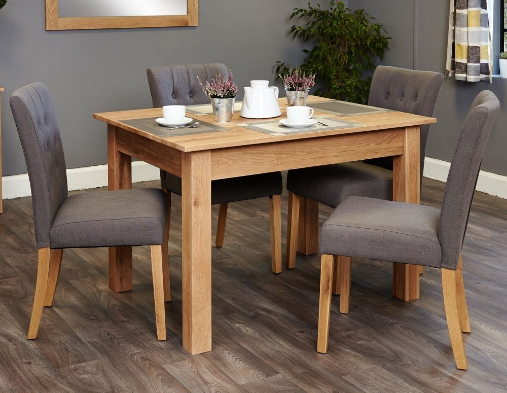 baumhaus mobel oak dining set with 4 flare back grey upholstered chairs