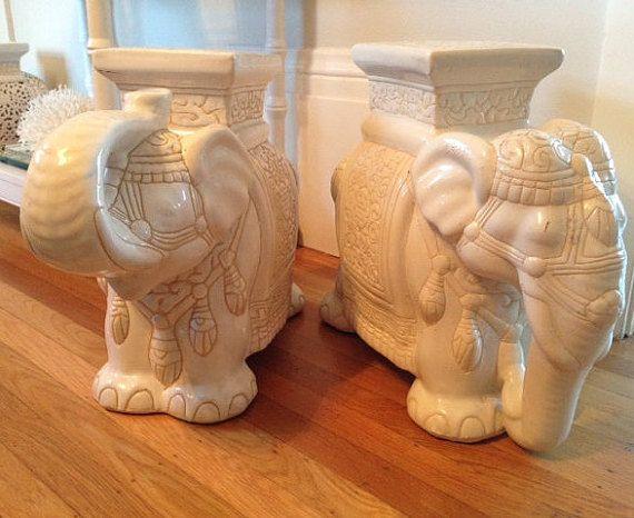 FABULOUS Asian Vintage Ceramic Elephant Garden Stool Or End Table.  Chinoiserie Charm! *Please