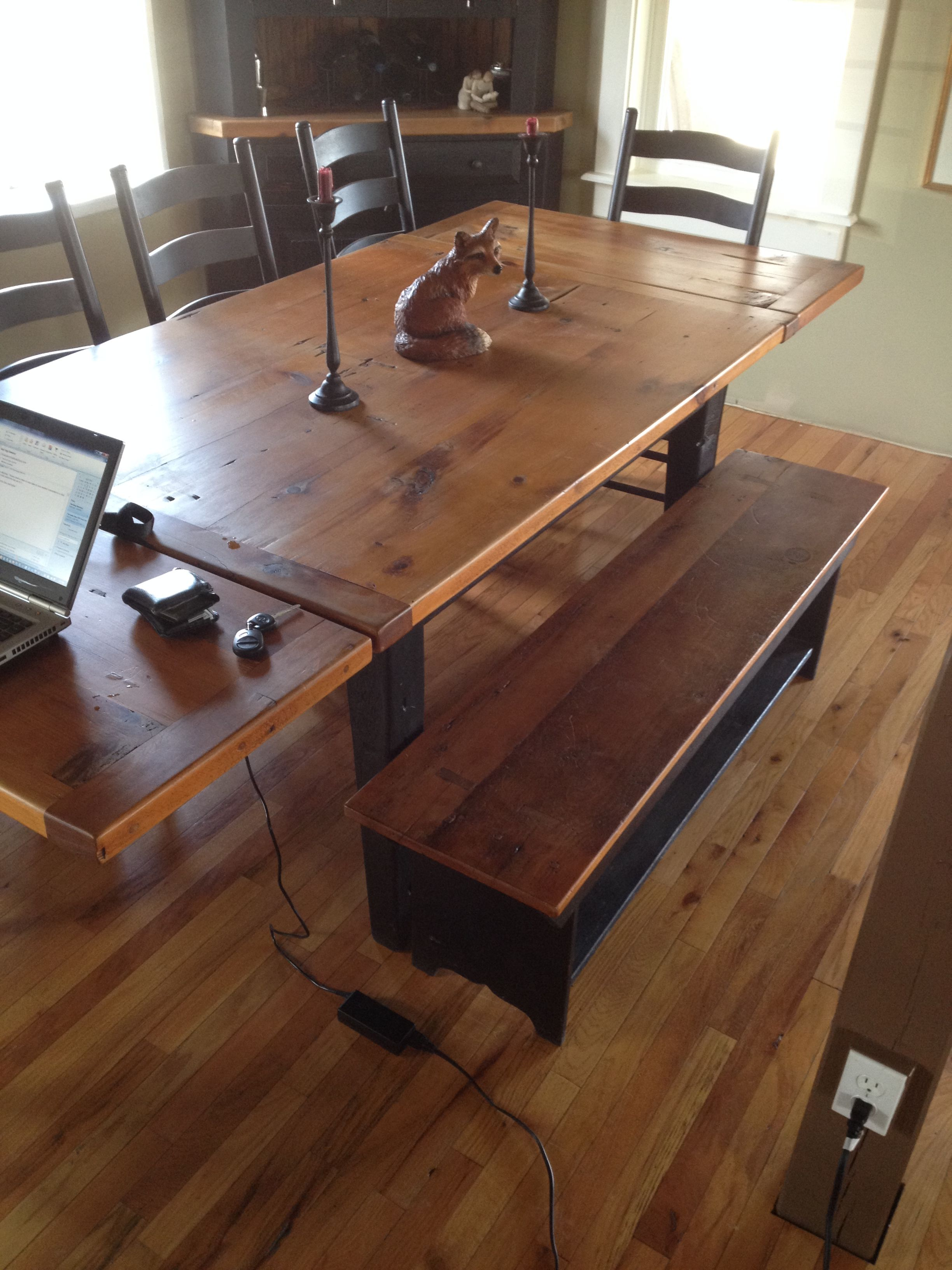 Reclaimed Barn Wood Furniture   Barn Wood Farm Table And Barn Wood Bench,  Hardwood Handmade