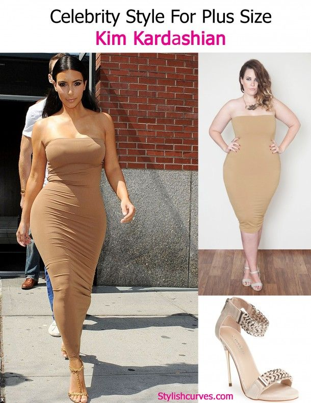 CELEBRITY STYLE FOR PLUS SIZE CURVES: KIM KARDASHIAN NUDE STRAPLESS ...