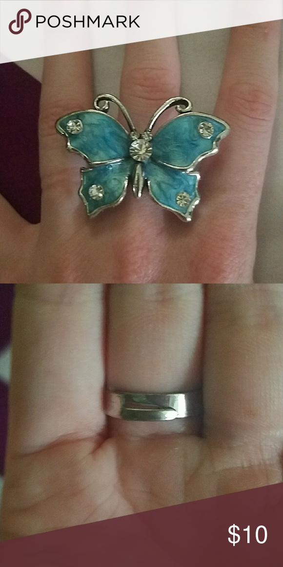 Large blue butterfly ring Blue butterfly, Butterfly ring