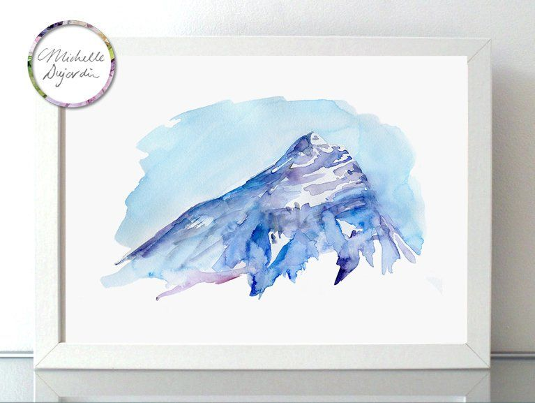 Paysage De Montagne Mont Everest Peinture Aquarelle Peinture