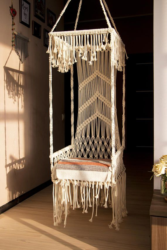 swing old vintage stock new hanging handmade chair outdoor mod macrame hammock indoor minimalist