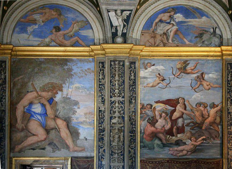 Left: Sebastiano del Piombo - Polifemo. Right: Raffaello Sanzio - Il Trionfo di Galatea, 1517 Villa Farnesina, Roma.