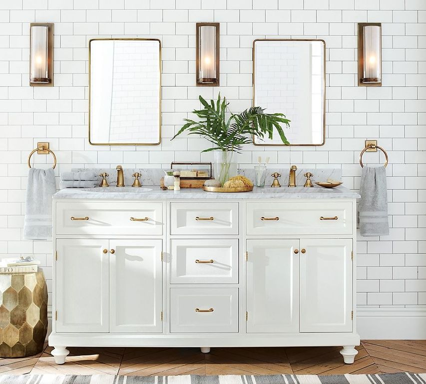 Traditional Full Bathroom With Complex Marble Complex Marble Counters Double Sink Flat Panel Pottery Barn