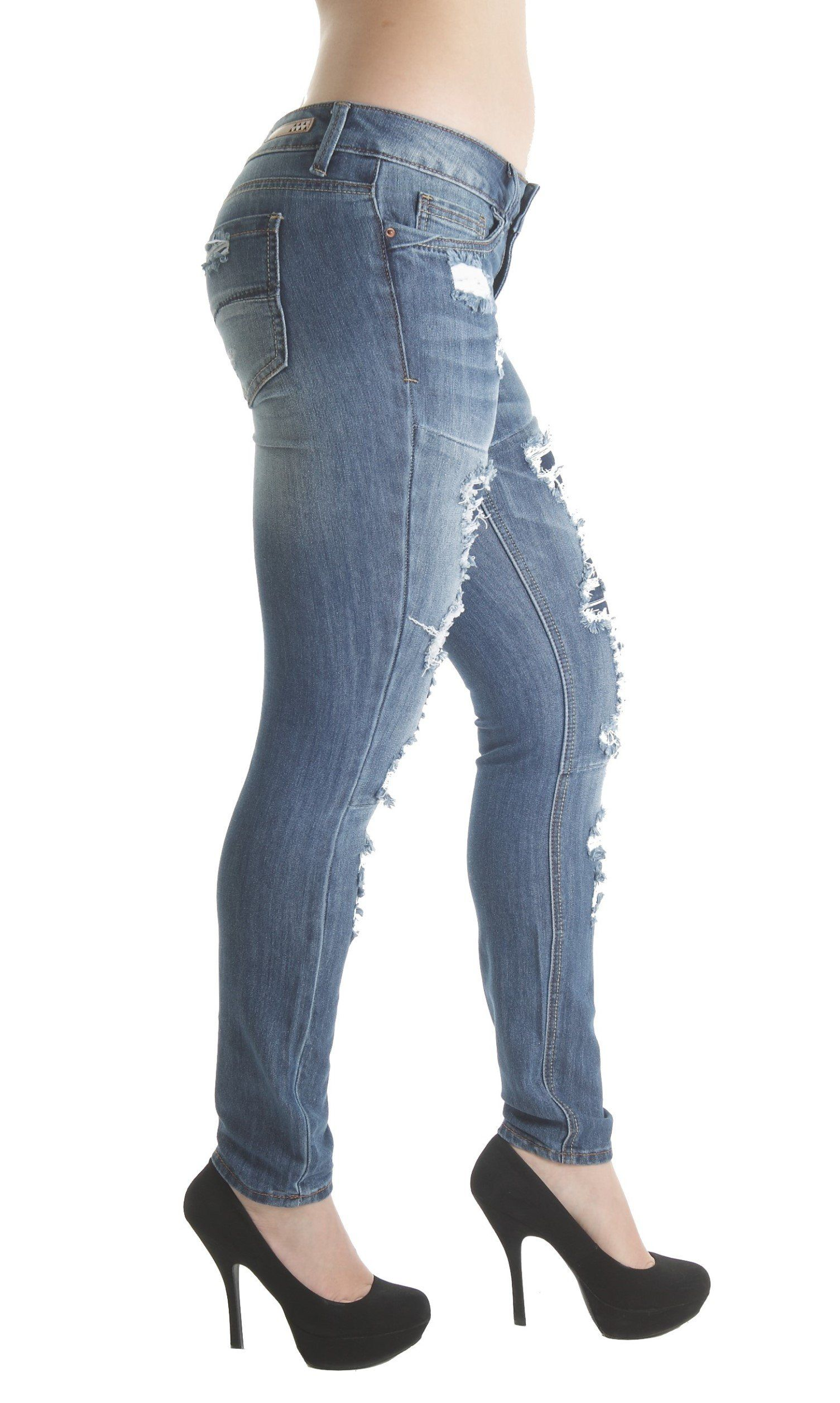 2fd81b2f dollhouse PK2312 Destroyed Ripped and Repair Premium Skinny Jeans In Washed  M. Blue Size 1 *** You can find more details by visiting the image link.
